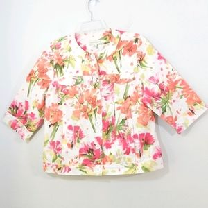 Appleseed's floral pocketed button blazer jacket M